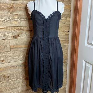 Free People Black spaghetti strap dress with lace